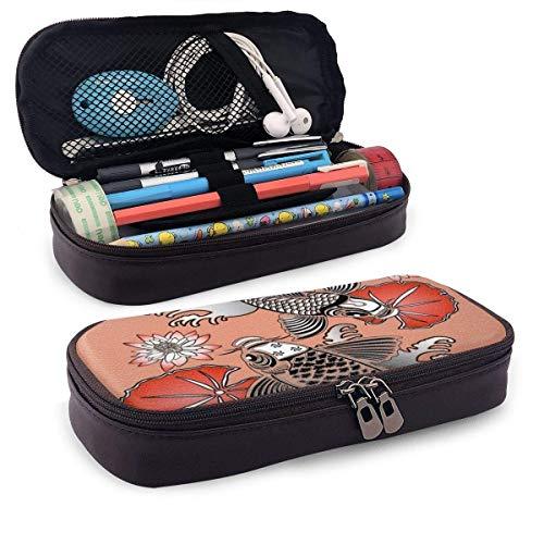 Estuche de piel para lápices, carpa sagrada en estilo tradicional de tinta japonesa con ilustraciones clásicas de Lilles, estuche para bolígrafos de oficina para estudiantes, 19,8 x 11,4 x 3,8 cm