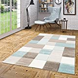 Maui Designer Teppich Pastell Blau Beige Karo in 4 Größen
