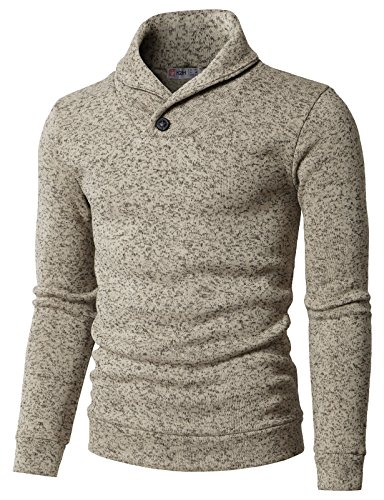 H2H Mens Knited Slim Fit Pullover Sweater Shawl Collar with One Button Point Ivory US M/Asia L (KMOSWL036)