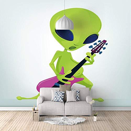 Foto Murales Alien tocando la guitarra Papel pintado mural techo Salón Dormitorio Despacho Pasillo Decoración murales decoración de paredes Tamaño personalizado-450X300cm (177x118 inch)