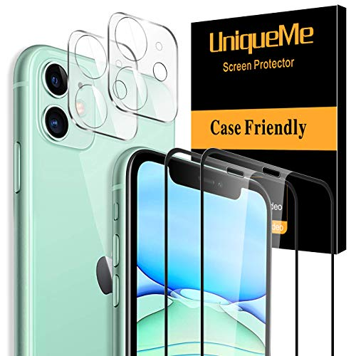 "[ 4 Pack ] UniqueMe Tempered Glass Screen Protector and Tempered Glass Camera Lens Protector for iPhone 11 6.1""[Full Coverage]"