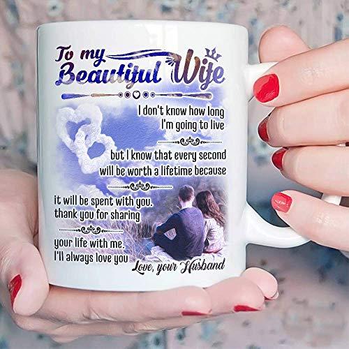 Teravex - Taza de café de cerámica para el día de San Valentín para ella, para mi hermosa esposa, 325 ml, regalo ideal de marido a esposa, mujer, aniversario de boda, cumpleaños, día de la madre