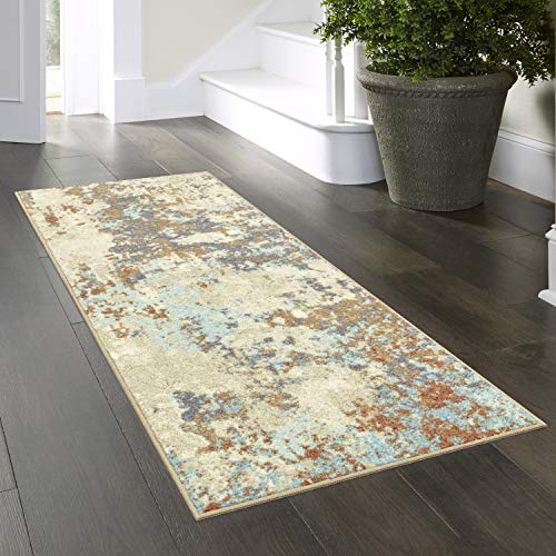 Maples Rugs Southwestern Stone Distressed Abstract Non Slip Runner Rug For Hallway Entry Way Floor Carpet [Made in USA], 2 x 6, Multi