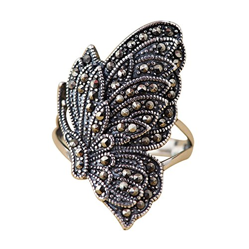 Vintage 925 Sterling Silver Butterfly Ring with Marcasite Stones for Women Girls Size 8