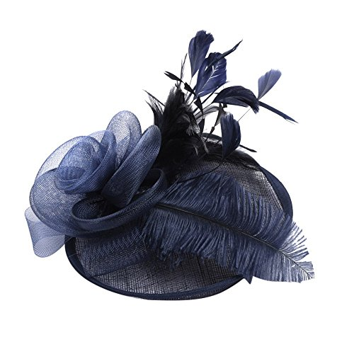 jieGorge Fashion Women Fascinator Mesh Hat Ribbons And Feathers Wedding Party Hat, Hat, Clothing Shoes & Accessories (Navy)