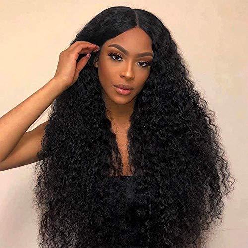 Perücke Schwarz Locken für Damen Lang Wellige Synthetische Lace Front Perücken 130% Dichte Natürlich Wig Afro Frauen perucken DE067A