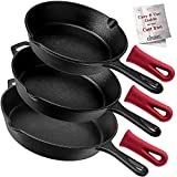 Cuisinel Cast Iron Skillet Set - 3-Piece: 8' + 10' + 12'-Inch Chef Frying Pans - Pre-Seasoned Oven Safe Cookware + 3 Heat-Resistant Handle Covers - Indoor/Outdoor Use - Grill, Stovetop, BBQ, Fire Safe