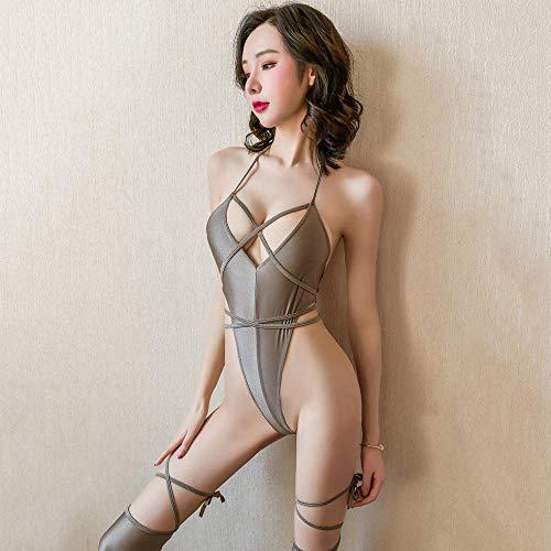 YUEG Ropa erótica Lencería Sexy Super Sexy pasión tentación Paquete de Traje de baño de Corte Alto Traje de Talla única Gris Plateado