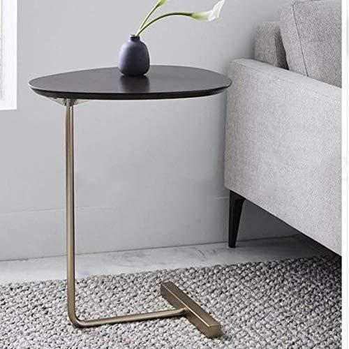 Tabla creativo sencillo óvalo pequeño café mesa de hierro sofá de la esquina Mesa lateral Móvil Nórdica de madera sólida Sala lectura de cabecera Mesa lateral para Cama y Sofá ( Color : Boom Clap 1 )