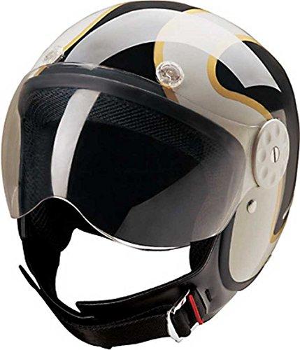 HCI Open Face Fiberglass Motorcycle Helmet Black/Gold w/Face Shield 15-650 (Md)