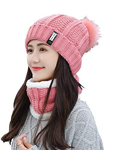 SoulQ Vrouwen Winter Knit Beanie Hoed Sjaal Set Leuke Pompom Slouchy Hoed, Fleece gevoerde Faux Bont Ski Cap