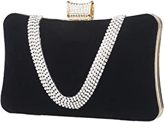 ZYWYB Women's Embroidered Beaded Sequin Evening Clutch Large Wedding Party Purse Vintage Bags (Color : Black)