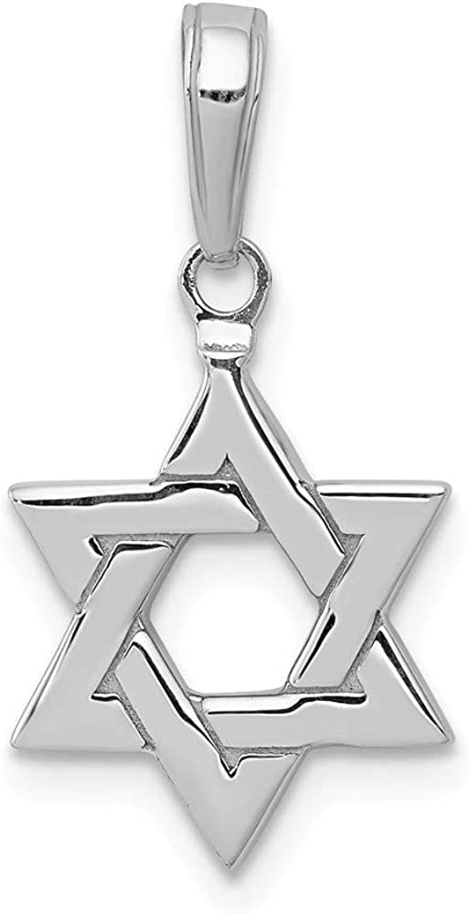 Solid 14k White Gold Star of David Lucky Jewish Pendant Charm 21mm