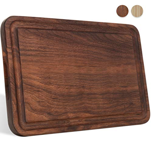 Small Walnut Wood Cutting Board for Kitchen Cheese Charcuterie Board (Free Gift Box) Multipurpose Reversible Butcher Block with Non-slip Mats, Handles and Juice Groove 12x8 by AZRHOM