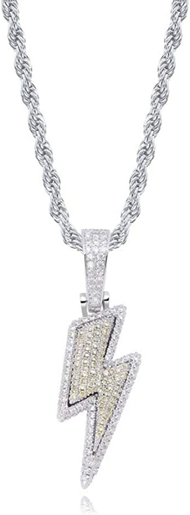 Moca Jewelry Iced Out Lightning BoltPendant Necklace 18K Gold Plated Bling CZ Zircon Simulated Diamond Hip Hop Rapper Chain Necklace for Men Women