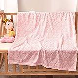 Bertte Plush Baby Blanket for Boys Girls | Swaddle Receiving Blankets Super Soft Warm Lightweight Breathable for Infant Toddler Crib Stroller - 33'x43' Large, Pink Hearts Embossed
