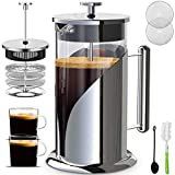 Upgraded French Press Coffee Maker Stainless Steel 34 oz, Coffee Press with Stainless Steel Stand Precise Scale Easy to Clean Durable Heat Resistant Glass