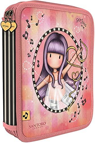 ASTUCCIO SCUOLA compatibile con Santoro Gorjuss London 2 PIANI COMPLETO ZIP Little Dancer piccola ballerina + Omaggio penna con paillettes 6 colori in 1 + portachiave con paillettes