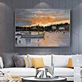 hetingyue Impresión Paisaje Pintura Puesta de Sol Marina Lienzo Mural salón...