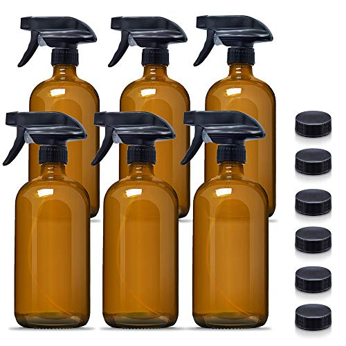 16 oz Empty Amber Glass Spray Bottles,Refillable Container for Essential Oils, Cleaning Products, or Aromatherapy, Durable Trigger Sprayer w/Mist and Stream Settings-6 Pack