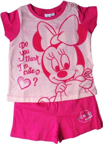 Disney Minnie Mouse Zweiteiler / Pyjama / Schlafanzug / T-Shirt und Shorty - Baby Minnie - Denkst Du, dass ich die Süßeste bin? - Pink/Mehrfarbig