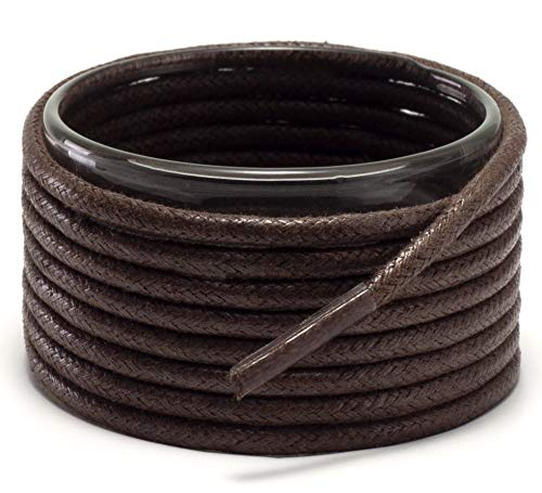 Shoemate Wax Round Shoelaces for Boots and Dress Oxford Shoes, Shoe Strings, 04 Brown, 42'(107cm) 10-ShenZong