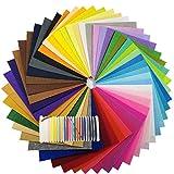 48Pcs Filzstoff Farbig Bastelfilz Steif Vliesstoff DIY
