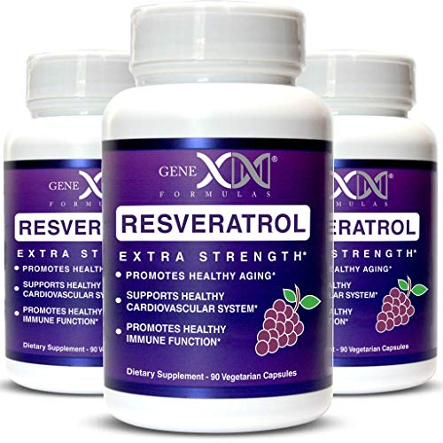 Genex Resveratrol 1500mg 3 Pack -Max Strength - Antioxidant Supplement Extract | Trans-Resveratrol Works Well with NMN Nicotinamide Mononucleotide Made in a GMP Facility 90-Day Supply