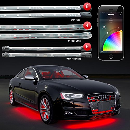 8pc 24' Under Glow Tube + 6pc 10' Interior Strips + 4pc 36' Wheel Light Strips XKchrome App Control Car LED Accent Light Kit Millions of Colors Patterns Dual Zone Music Sync Smart Brake Feature
