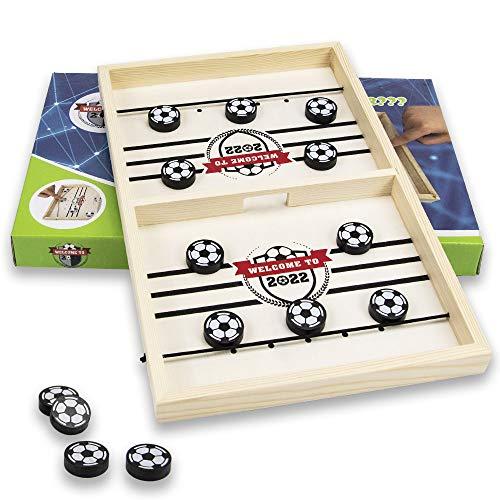 GoHist Fast Slingpuck, Brettspiel Hockey Tragbares Eisball-Kampfspiel Eltern-Kind Interaktives Schachbrett-Set Spiel Stoßstange Schach Desktop-Spiel für 2 Personen für Kinder, Erwachsene