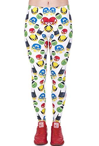 Hanessa Frauen Leggins Gelb Weiß Bedruckte Leggings Geschenk zu Weihnachten Hose Frühling Sommer Kleidung Superhelden Smilys L26