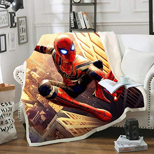 HGKY Plaid Spiderman pour garçons et filles, couverture chaude en microfibre, imprimé 3D, doux et chaud, toutes saisons, pour canapé, maison, bureau (H,150 x 200 cm)
