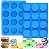 Palksky (2pcs) 12Cavity Cylinder Silicone Mold/Round Soap Mold/Handmade Shower Steamer Molds for Bath Bomb, Beeswax, Lotion Bars