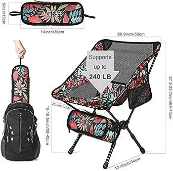 G4Free Chaise de Camping Ultra-Léger Pliable Hauteur Réglable avec Sac de Transport pour Randonnée Pique-Nique Pêche Voyage Plage