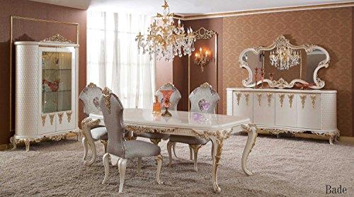 Klassisch luxuriöses Esszimmer set – BADE (1 Esstisch, 6 Esszimmerstühle, 1 Vitrine, 1 Schrank, 1 Spiegel). Farbkombination: elfenbeinfarben, gold, lila, grün. Classical luxury diningroom set