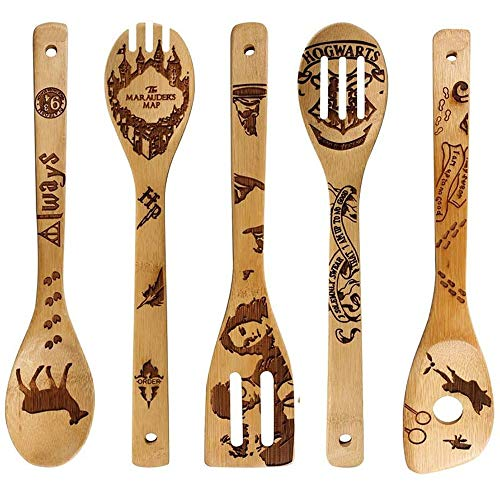 Wooden spoons cooking Halloween laser bamboo spatula spatula kitchen gift Halloween gifts laser engraving bamboo spatula fork set wooden bowls and spoons (E,30cm6cm)