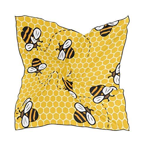 N/A Honeybee - Pañuelo cuadrado de poliéster con diseño de abejas y nido de abeja (60 x 60 cm)