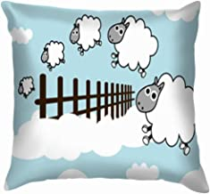 Best Music Posters Pillow Cases Decorative 18x18 inch,Sheep on Sky Jumping Fence Animals Wildlife Sleep Illustrations Clip Art