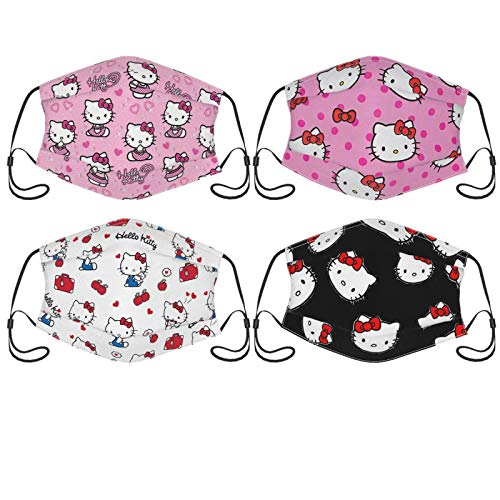 Hello Kitty Face Mask 4pc with 8 Filter Bandana Face Mouth Cover Reusable Washable Scarf for Adults Women Men Teens