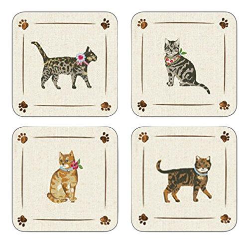 Cooksmart Cats on Parade Untersetzer mit Katzen - Motiv, Mehrfarbig, 4 Stück