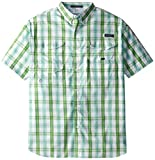 Columbia Sportswear - Camisa de Manga Corta clásica para Hombre, diseño de Cuadros, Color Verde Limpio, 2X