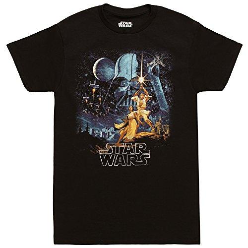 Star Wars A New Hope Vintage Poster Adult T-Shirt - Black (Large)