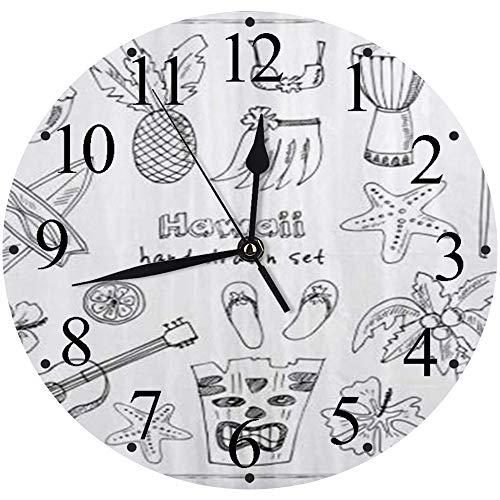 LUHUN Reloj de Pared Moderno,Hawaii Símbolos e íconos Falda Hula Chanclas de Palma Ukelele de Coco,Reloj de Cuarzo de Cuarzo Redondo No-Ticking para Sala de Estar 30 cm