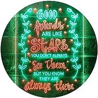 Good Friends Like Stars Always There Room Dual Color LED看板 ネオンプレート サイン 標識 緑色 + 赤色 210 x 300mm st6s23-i3418-gr
