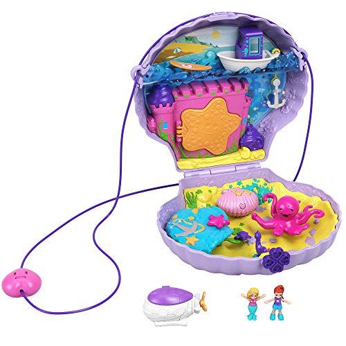 Polly Pocket Coffret Sac à Main Le Coquillage Enchanté avec mini-figurines Polly et Lila, accessoires et autocollants, jouet enfant, édition 2020, GNH11