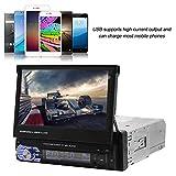 ASHATA Lecteur MP3 MP4 MP5 Multimédia, Autoradio Bluetooth GPS Stéréo avec Écran Tactile 7 Pouces Rétractable Télescopique-Din Simple MP5-SWM9601 pour Voiture