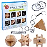 HMANE 8Pcs Wooden Brain Teaser Puzzle + Metal Wire Puzzle Set, IQ Test Toy, Disentanglement Puzzles Toy Unlock Interlock Game for Kids Adults