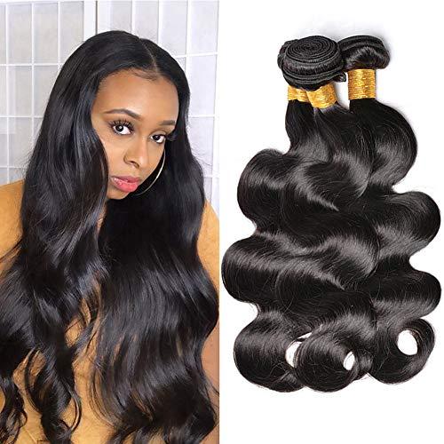 DFX Hair 100g body wave human hair bundles 9A Brazilian Virgin Hair Wavy Extensions True to Length (14 16 18, 3 bundles)