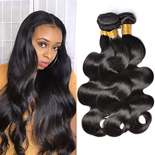 DFX Hair 8~30 inches Brazilian Virgin Human Hair Extension Body Wave Bundles, Pack of Three, 100g/Bundle, 8A Natural Color Weft (14 16 18)