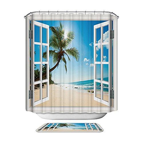 HarsonundJane Wasserabweisender Duschvorhang mit 12 Rollenring Badvorhang 72x72 72 × 79 Inch (3D Strand, 180 x 200 cm)